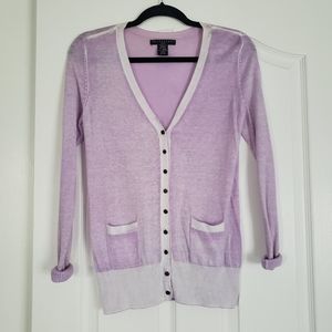 Apostrophe Lavender and White Trim Cardigan